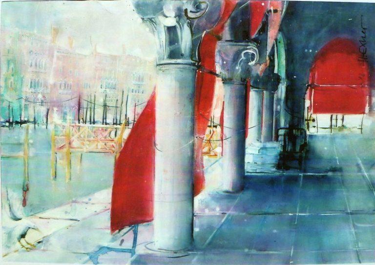 """Aquarell """"Fischmarkt in Venedig"""" von Hans Exner"""