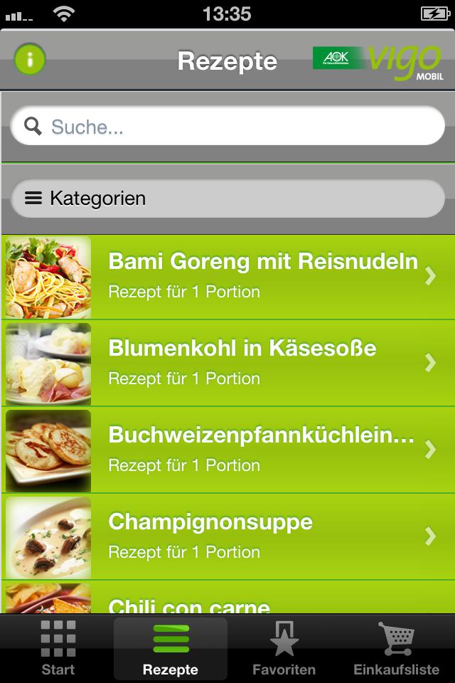 Screenshot der AOK-App Gutenfreie Rezepte